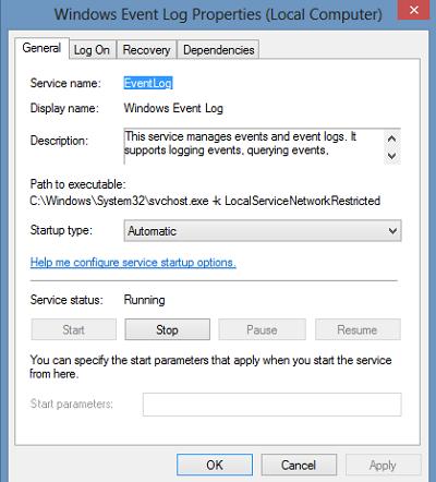 Windows-Event-Log-properties